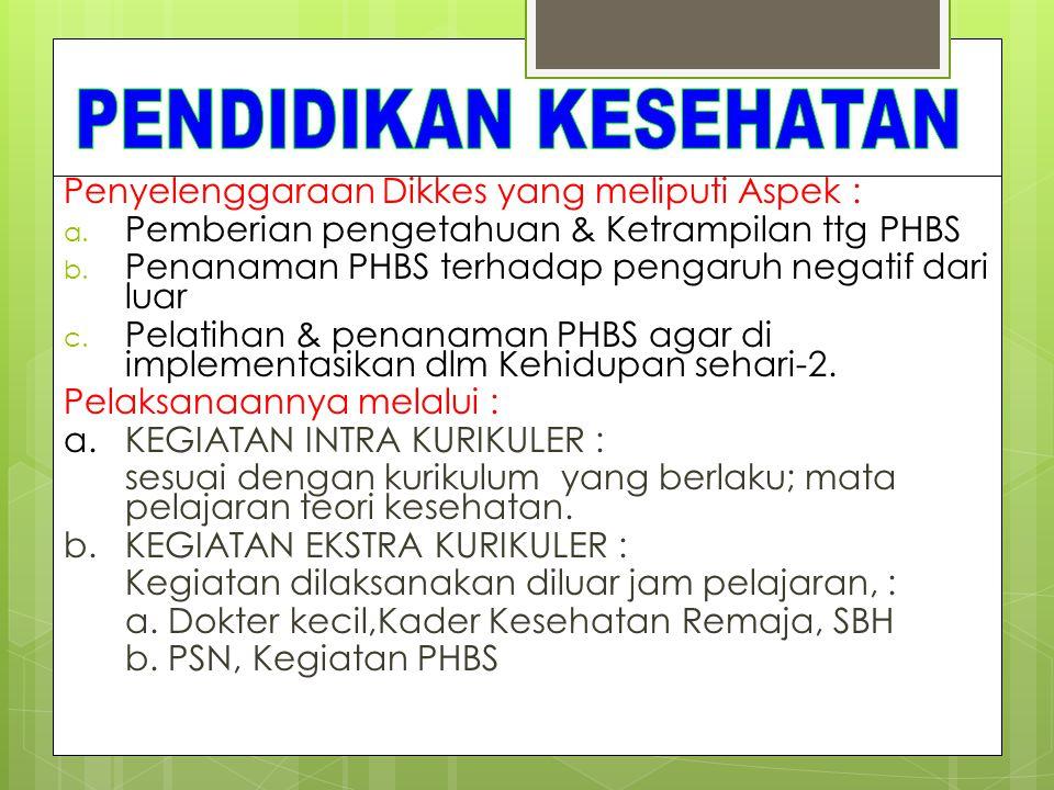 Penyelenggaraan Dikkes yang meliputi Aspek : a.Pemberian pengetahuan & Ketrampilan ttg PHBS b.
