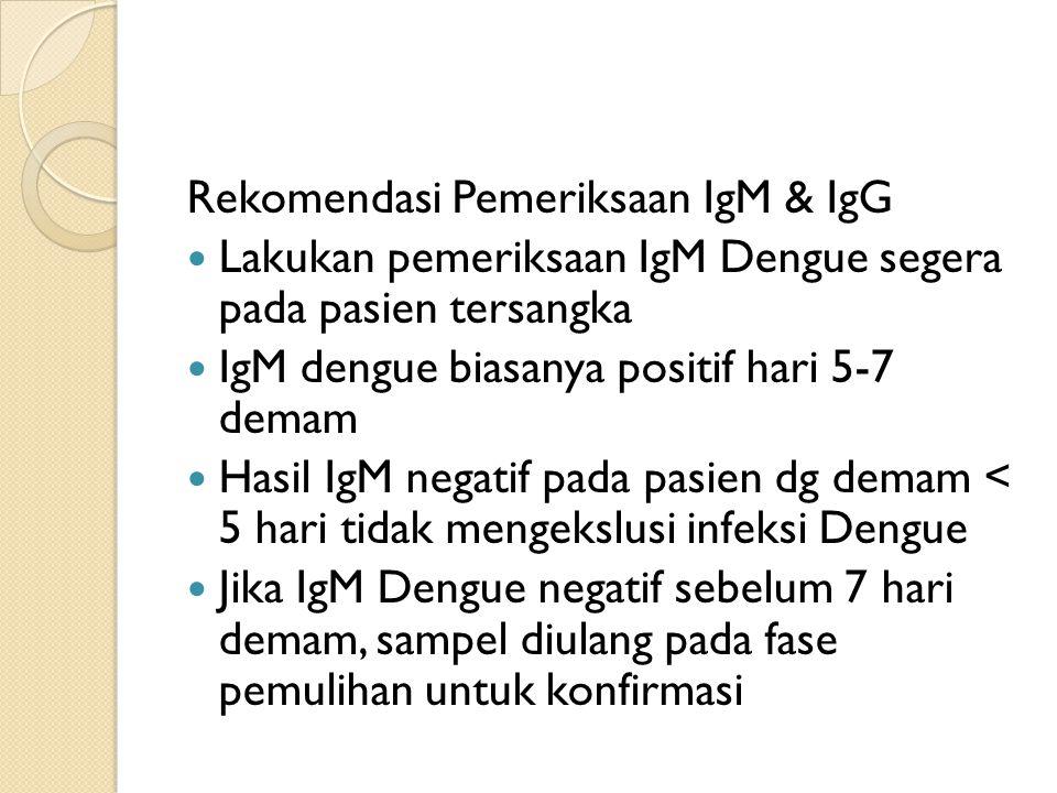 Rekomendasi Pemeriksaan IgM & IgG Lakukan pemeriksaan IgM Dengue segera pada pasien tersangka IgM dengue biasanya positif hari 5-7 demam Hasil IgM negatif pada pasien dg demam < 5 hari tidak mengekslusi infeksi Dengue Jika IgM Dengue negatif sebelum 7 hari demam, sampel diulang pada fase pemulihan untuk konfirmasi