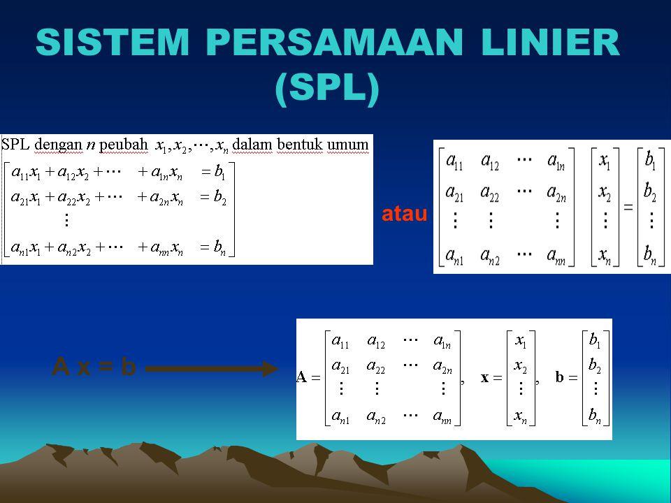 Penyelesaian SPL (Tumpuan Parsial) Menggunakan Sistem Segitiga Atas SPL TUMPUAN Memilih elemen tumpuan: lkh 2 maks.{4/3, 1/3, 7/3} Karena 7/3 tidak terletak pada baris 2 maka pertukarkan baris 2 dgn baris 4
