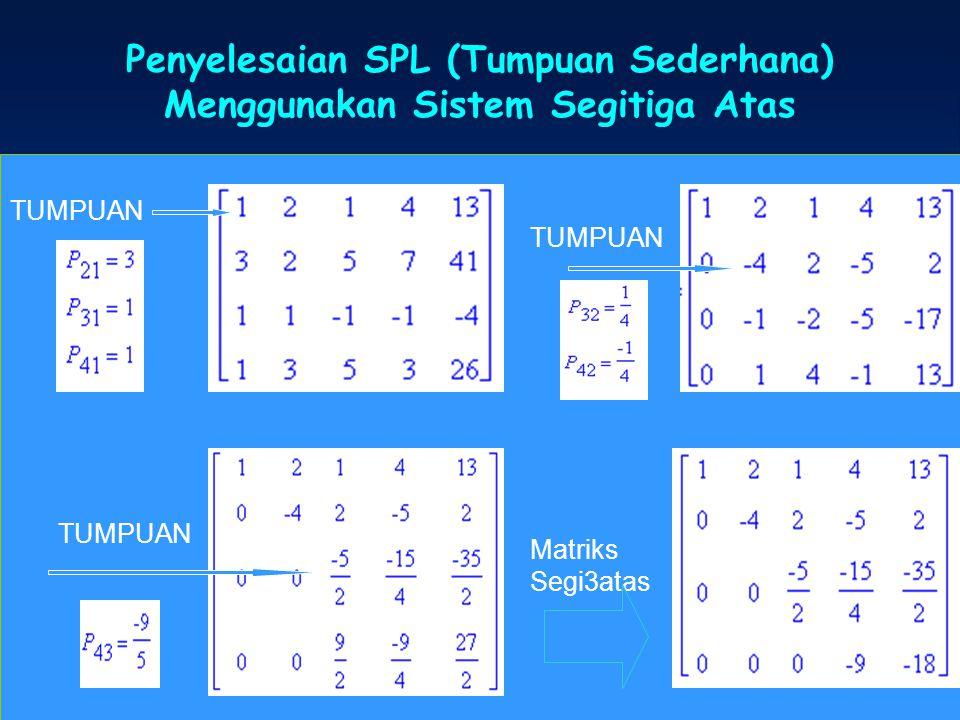 Penyelesaian SPL (Tumpuan Sederhana) Menggunakan Sistem Segitiga Atas SPL TUMPUAN Matriks Segi3atas