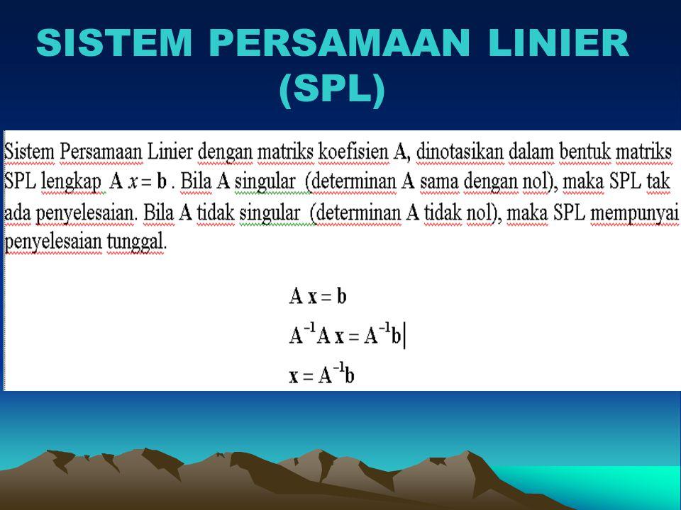 Penyelesaian SPL (Tumpuan Parsial) Menggunakan Sistem Segitiga Atas SPL TUMPUAN Memilih elemen tumpuan: lkh 3 maks.{!- 22/7!, !-18/7!} Karena -22/7 terletak pada baris 3 maka tidak diperlukan pertukaran baris TUMPUAN
