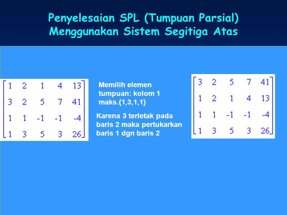 Penyelesaian SPL (Tumpuan Parsial) Menggunakan Sistem Segitiga Atas SPL Memilih elemen tumpuan: kolom 1 maks.{1,3,1,1} Karena 3 terletak pada baris 2
