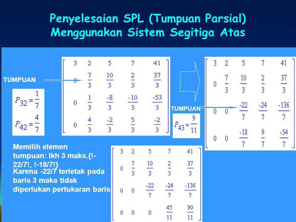 Penyelesaian SPL (Tumpuan Parsial) Menggunakan Sistem Segitiga Atas SPL TUMPUAN Memilih elemen tumpuan: lkh 3 maks.{!- 22/7!, !-18/7!} Karena -22/7 te