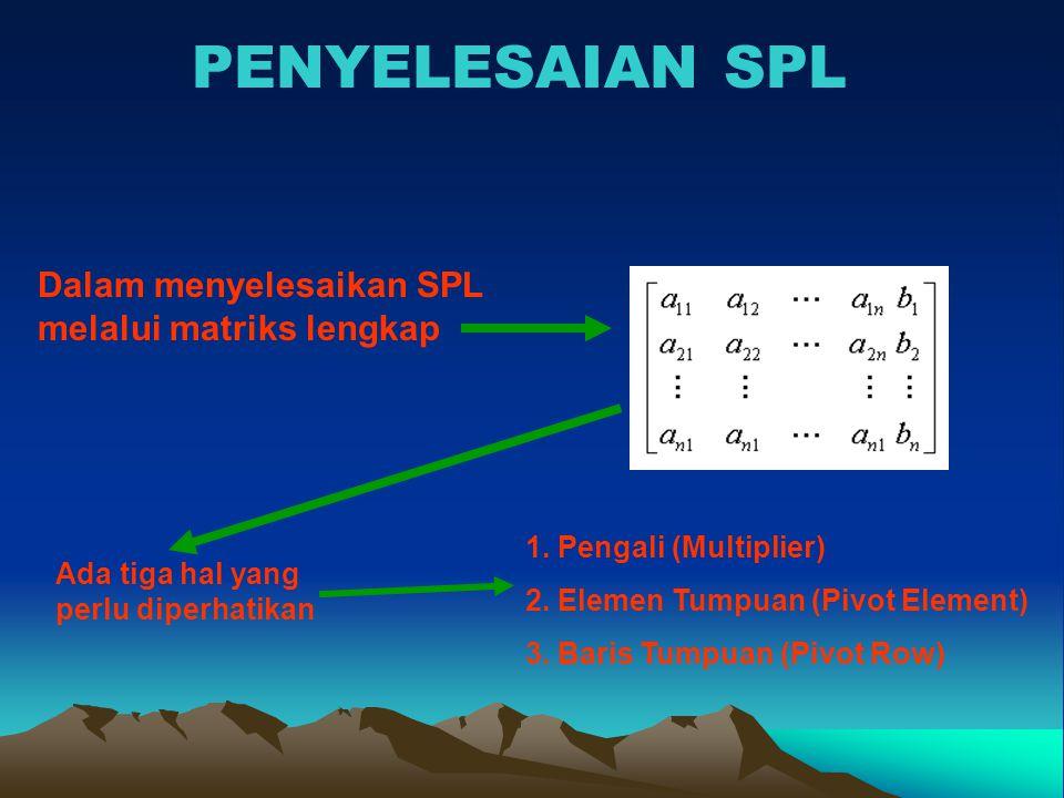 PENYELESAIAN SPL Dalam menyelesaikan SPL melalui matriks lengkap Ada tiga hal yang perlu diperhatikan 1. Pengali (Multiplier) 2. Elemen Tumpuan (Pivot