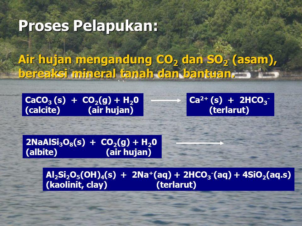 Proses Pelapukan: Air hujan mengandung CO 2 dan SO 2 (asam), bereaksi mineral tanah dan bantuan. CaCO 3 (s) + CO 2 (g) + H 2 0 (calcite) (air hujan) C