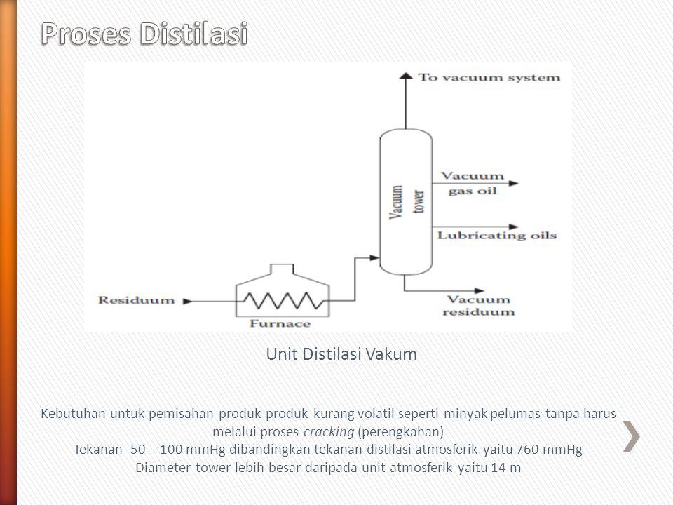 Unit Distilasi Vakum Kebutuhan untuk pemisahan produk-produk kurang volatil seperti minyak pelumas tanpa harus melalui proses cracking (perengkahan) T