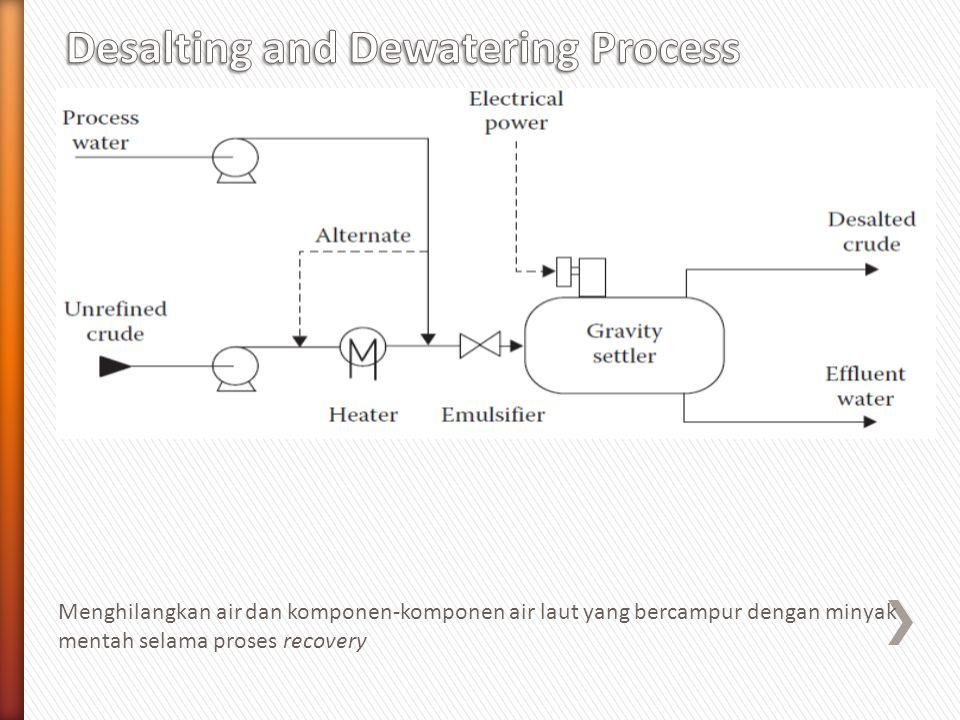 Menghilangkan air dan komponen-komponen air laut yang bercampur dengan minyak mentah selama proses recovery