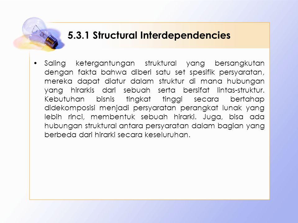 5.3.1 Structural Interdependencies Saling ketergantungan struktural yang bersangkutan dengan fakta bahwa diberi satu set spesifik persyaratan, mereka dapat diatur dalam struktur di mana hubungan yang hirarkis dari sebuah serta bersifat lintas-struktur.
