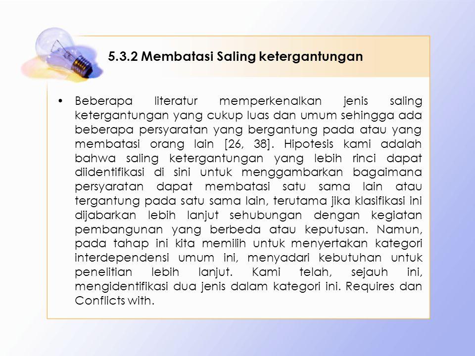 5.3.2 Membatasi Saling ketergantungan Beberapa literatur memperkenalkan jenis saling ketergantungan yang cukup luas dan umum sehingga ada beberapa persyaratan yang bergantung pada atau yang membatasi orang lain [26, 38].