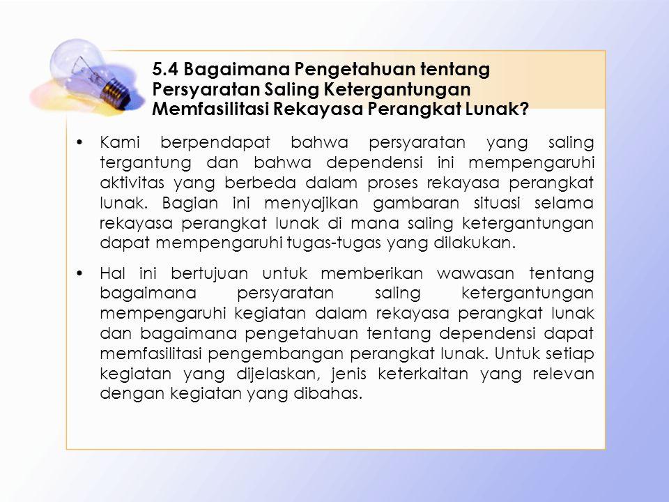 5.4 Bagaimana Pengetahuan tentang Persyaratan Saling Ketergantungan Memfasilitasi Rekayasa Perangkat Lunak? Kami berpendapat bahwa persyaratan yang sa