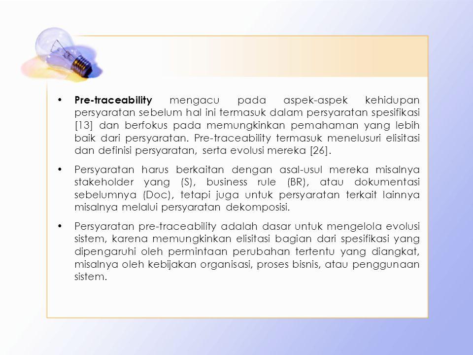 Pre-traceability mengacu pada aspek-aspek kehidupan persyaratan sebelum hal ini termasuk dalam persyaratan spesifikasi [13] dan berfokus pada memungki