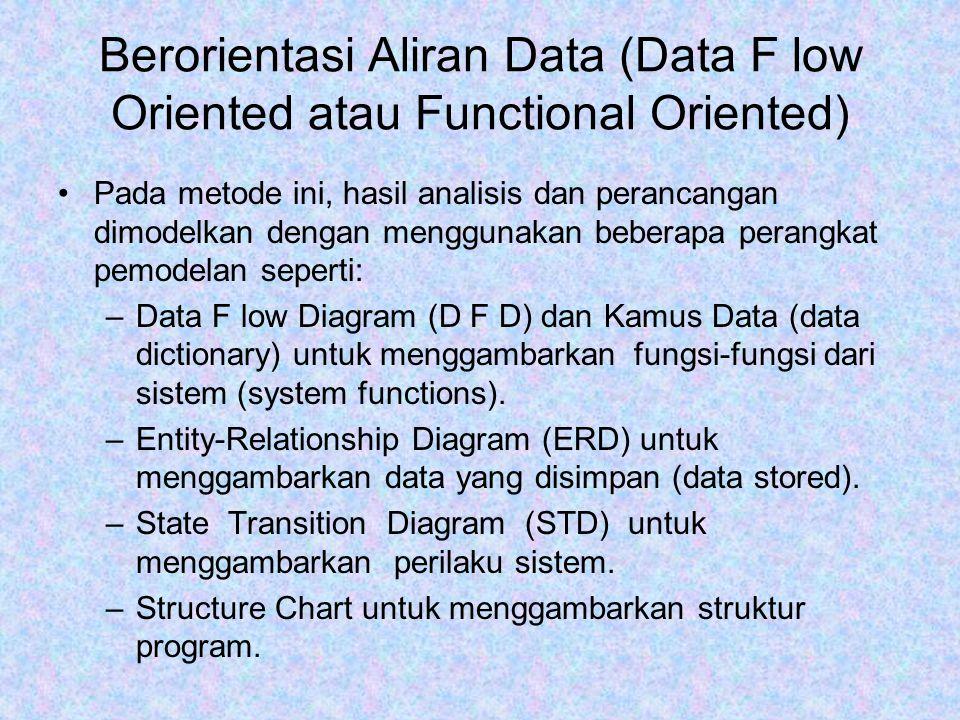 Berorientasi Aliran Data (Data F low Oriented atau Functional Oriented) Pada metode ini, hasil analisis dan perancangan dimodelkan dengan menggunakan beberapa perangkat pemodelan seperti: –Data F low Diagram (D F D) dan Kamus Data (data dictionary) untuk menggambarkan fungsi-fungsi dari sistem (system functions).