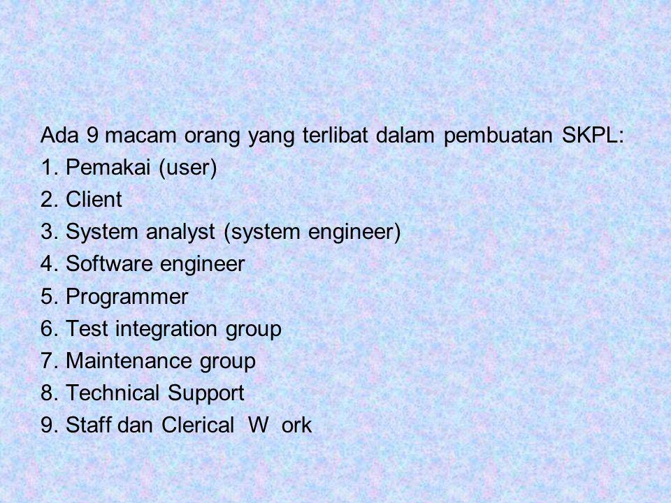 Ada 9 macam orang yang terlibat dalam pembuatan SKPL: 1.Pemakai (user) 2.Client 3.System analyst (system engineer) 4.Software engineer 5.Programmer 6.Test integration group 7.Maintenance group 8.Technical Support 9.Staff dan Clerical W ork