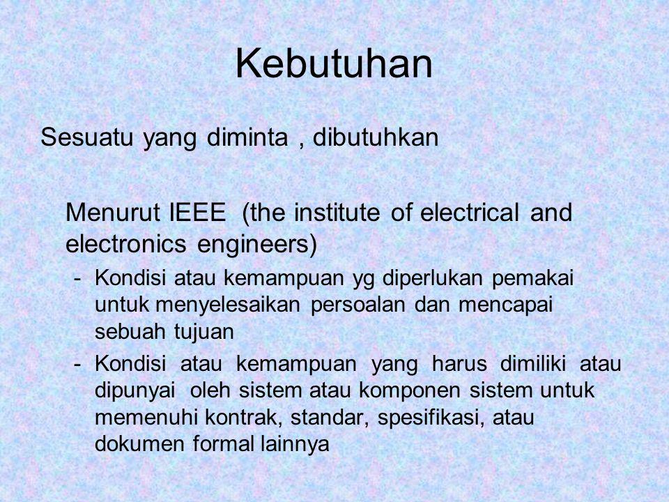 Kebutuhan Sesuatu yang diminta, dibutuhkan Menurut IEEE (the institute of electrical and electronics engineers) -Kondisi atau kemampuan yg diperlukan pemakai untuk menyelesaikan persoalan dan mencapai sebuah tujuan -Kondisi atau kemampuan yang harus dimiliki atau dipunyai oleh sistem atau komponen sistem untuk memenuhi kontrak, standar, spesifikasi, atau dokumen formal lainnya