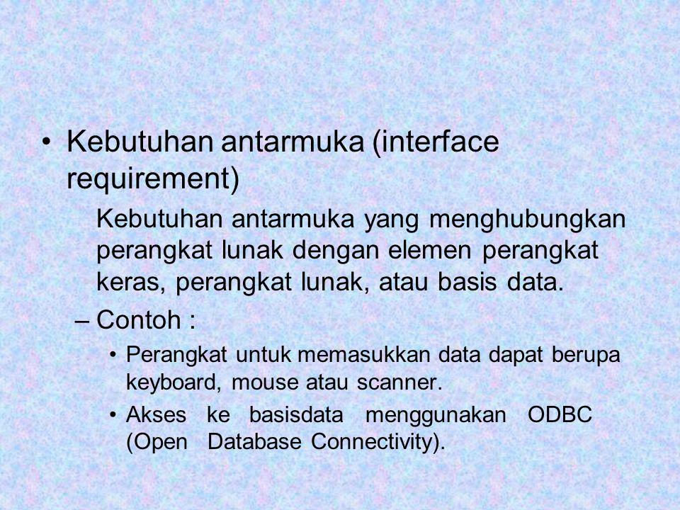 Kebutuhan antarmuka (interface requirement) Kebutuhan antarmuka yang menghubungkan perangkat lunak dengan elemen perangkat keras, perangkat lunak, atau basis data.