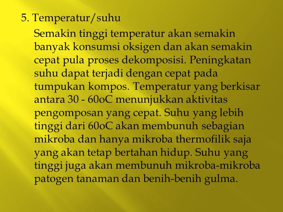 5. Temperatur/suhu Semakin tinggi temperatur akan semakin banyak konsumsi oksigen dan akan semakin cepat pula proses dekomposisi. Peningkatan suhu dap