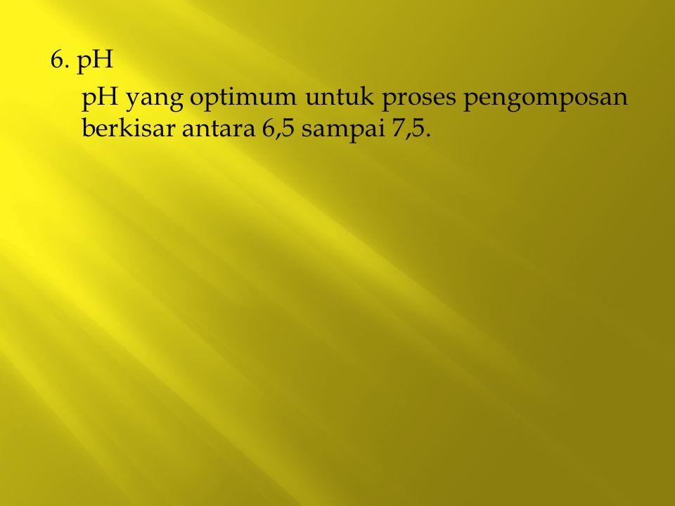 6. pH pH yang optimum untuk proses pengomposan berkisar antara 6,5 sampai 7,5.