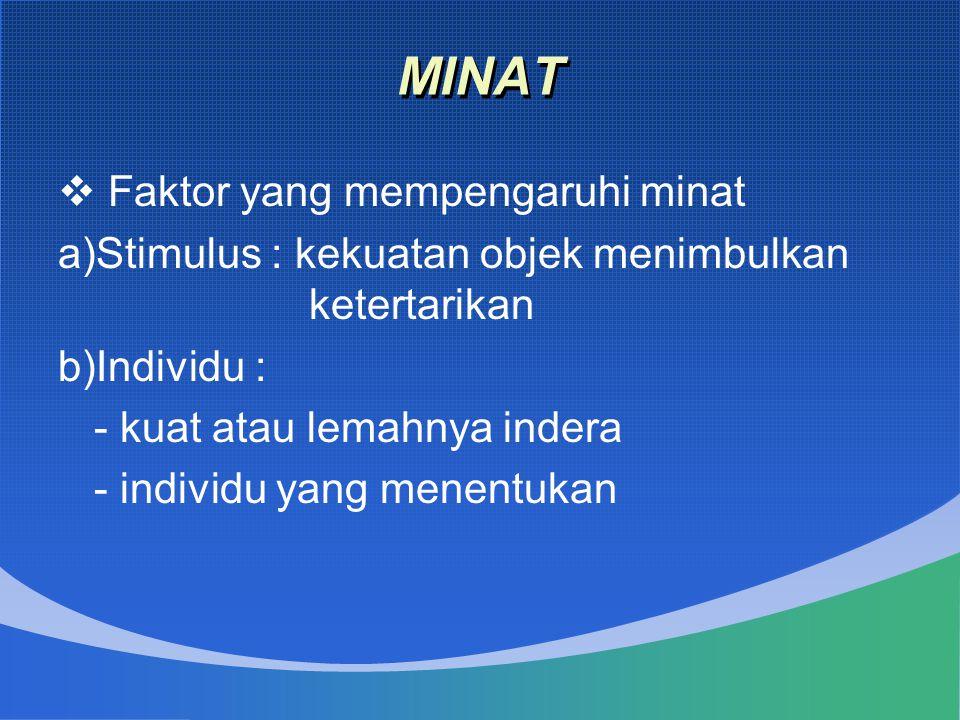 MINAT  Faktor yang mempengaruhi minat a)Stimulus : kekuatan objek menimbulkan ketertarikan b)Individu : - kuat atau lemahnya indera - individu yang m