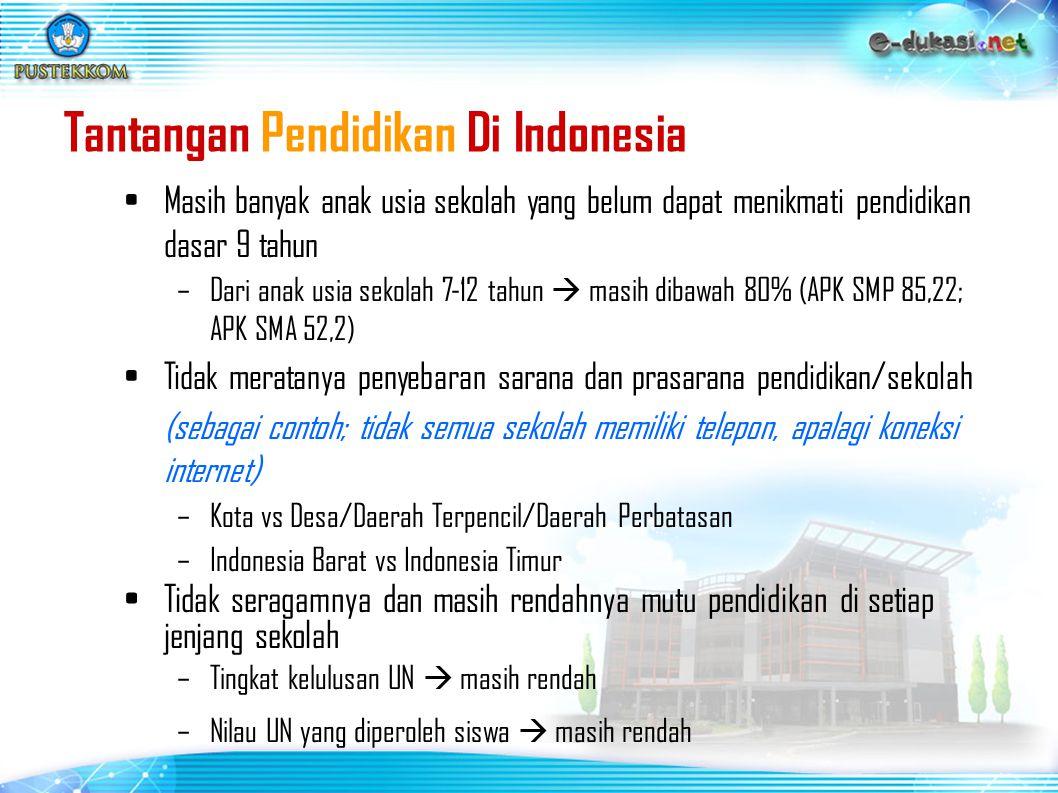 Tenaga Pengajar Jumlah guru yang ada 2.692.217, yang memenuhi syarat sertifikasi 727.381 orang atau 27%  perlu 1.964.836 atau 73% Survey HDI th 2005, Indonesia menduduki ranking 112 dari 175 negara (jauh berada di bawah Malaysia dan Bangladesh) Rendahnya tingkat pemanfaatan ICT di sekolah/kampus (Digital Divide)  Tidak semua sekolah mempunyai sarana ICT  Dari yang sudah ada ICT  penggunaanya kurang optimal (utilitas rendah) Tantangan Pendidikan Di Indonesia (2)