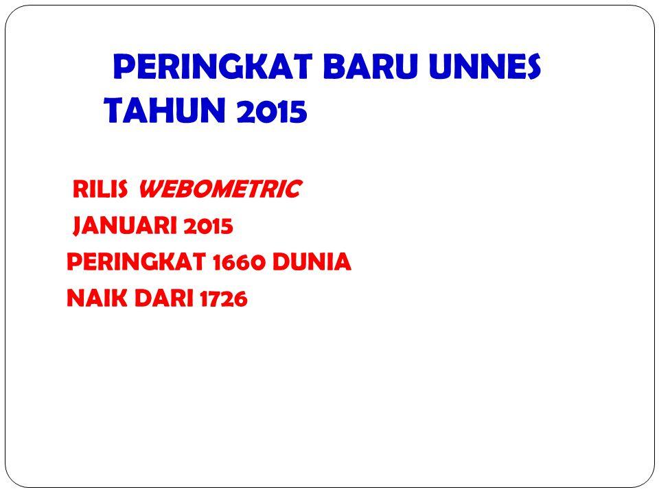 PERINGKAT BARU UNNES TAHUN 2015 RILIS WEBOMETRIC JANUARI 2015 PERINGKAT 1660 DUNIA NAIK DARI 1726