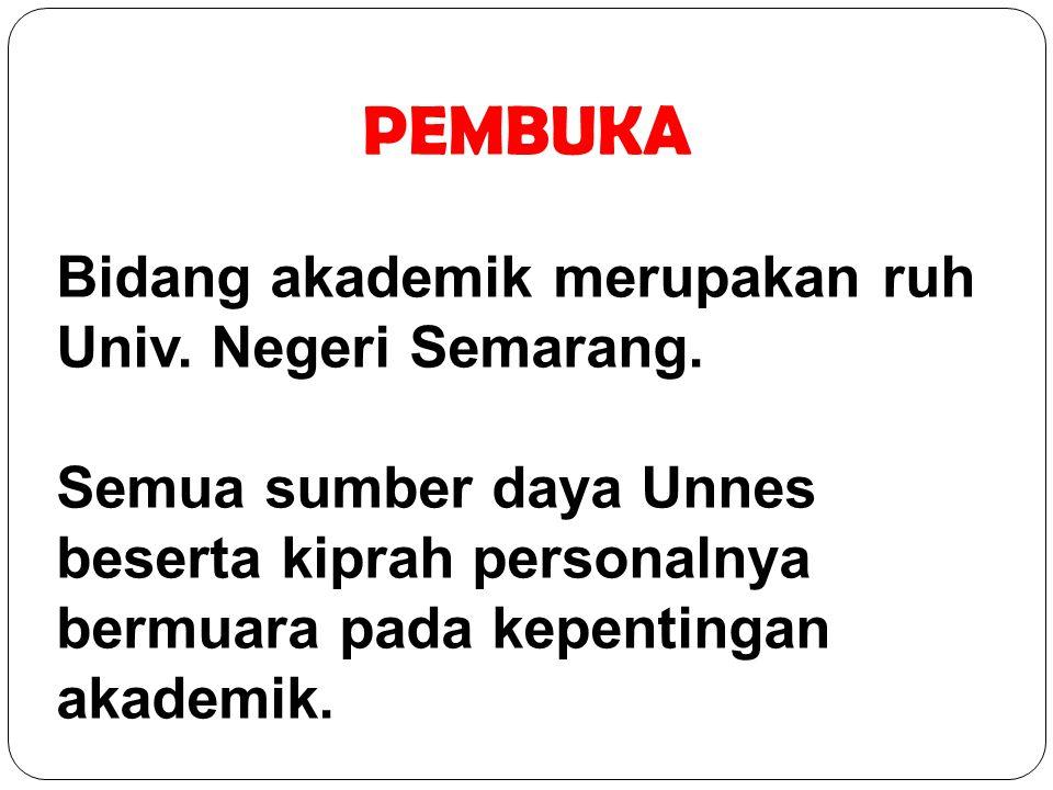 PEMBUKA Bidang akademik merupakan ruh Univ. Negeri Semarang.