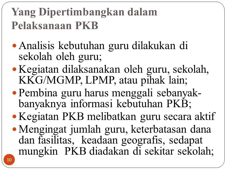 PKB berkaitan dengan pengembangan diri dalam rangka peningkatan kinerja dan karir guru. PKB merupakan pembaruan secara sadar akan pengetahuan dan peni