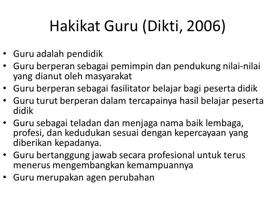 Hakikat Guru (Dikti, 2006) Guru adalah pendidik Guru berperan sebagai pemimpin dan pendukung nilai-nilai yang dianut oleh masyarakat Guru berperan seb