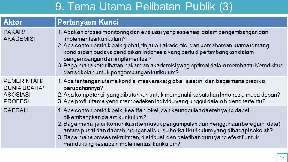 9. Tema Utama Pelibatan Publik (3) AktorPertanyaan Kunci PAKAR/ AKADEMISI 1.Apakah proses monitoring dan evaluasi yang essensial dalam pengembangan da