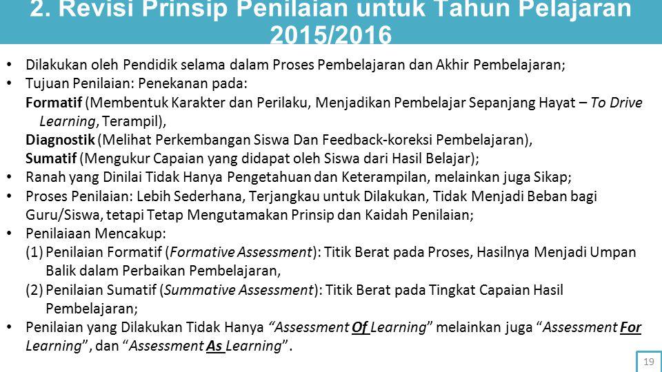 2. Revisi Prinsip Penilaian untuk Tahun Pelajaran 2015/2016 Dilakukan oleh Pendidik selama dalam Proses Pembelajaran dan Akhir Pembelajaran; Tujuan Pe