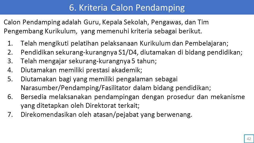 6. Kriteria Calon Pendamping 1.Telah mengikuti pelatihan pelaksanaan Kurikulum dan Pembelajaran; 2.Pendidikan sekurang-kurangnya S1/D4, diutamakan di