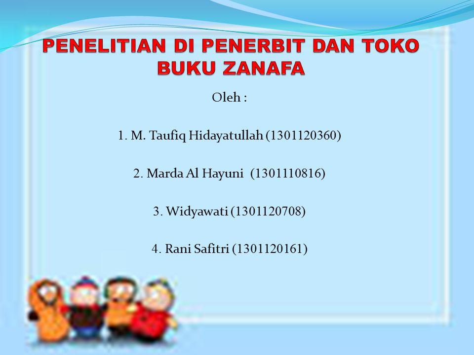 PROFIL ZANAFA adalah usaha yang bergerak dibidang penerbitan dan penjualan buku (Distributor dan Toko Buku).