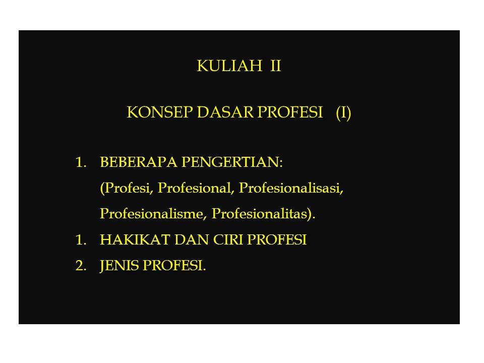 C.SYARAT-SYARAT PROFESI Menurut MOH.