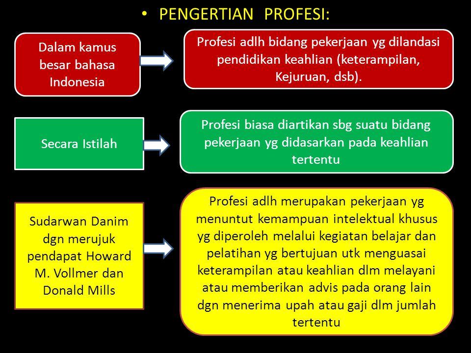 Kata Profesi dapat diketahui dari tiga sumber makna: Sumber makna Profesi 1.