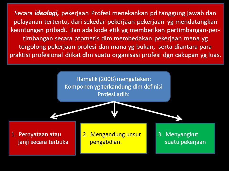  Kata Profesi masuk ke dlm kosa kata bhs Indonesia melalui bhs Inggris PROFESSION atau bhs Belanda PROFESSIE.