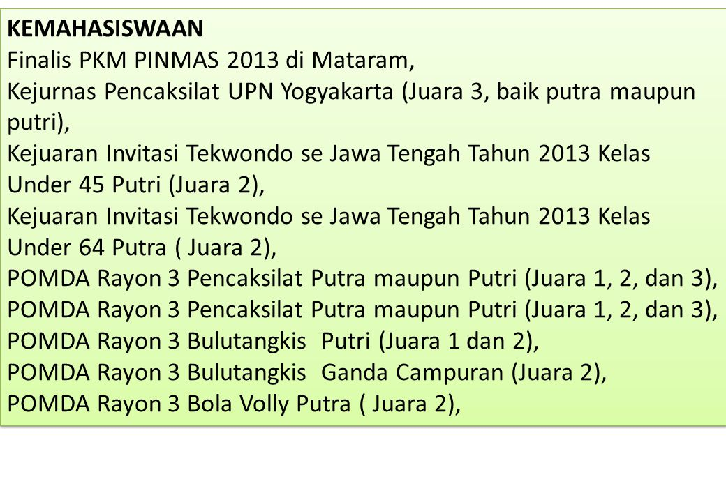 KEMAHASISWAAN Finalis PKM PINMAS 2013 di Mataram, Kejurnas Pencaksilat UPN Yogyakarta (Juara 3, baik putra maupun putri), Kejuaran Invitasi Tekwondo s