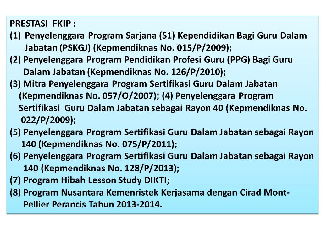 PRESTASI FKIP : (1)Penyelenggara Program Sarjana (S1) Kependidikan Bagi Guru Dalam Jabatan (PSKGJ) (Kepmendiknas No. 015/P/2009); (2) Penyelenggara Pr