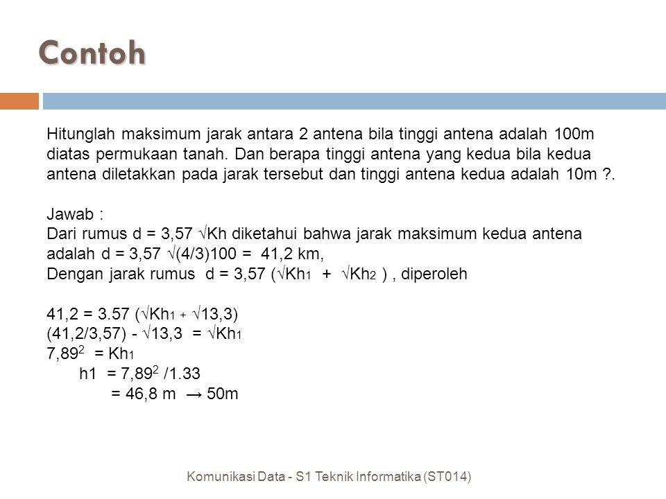Hitunglah maksimum jarak antara 2 antena bila tinggi antena adalah 100m diatas permukaan tanah.