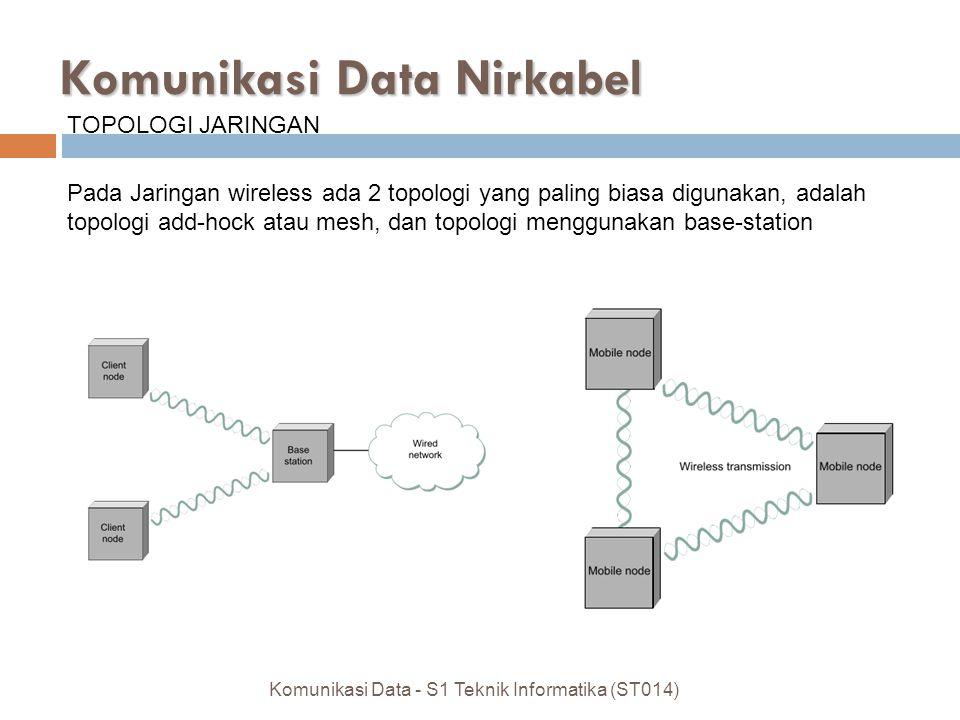 Komunikasi Data - S1 Teknik Informatika (ST014) Komunikasi Data Nirkabel TOPOLOGI JARINGAN Pada Jaringan wireless ada 2 topologi yang paling biasa digunakan, adalah topologi add-hock atau mesh, dan topologi menggunakan base-station