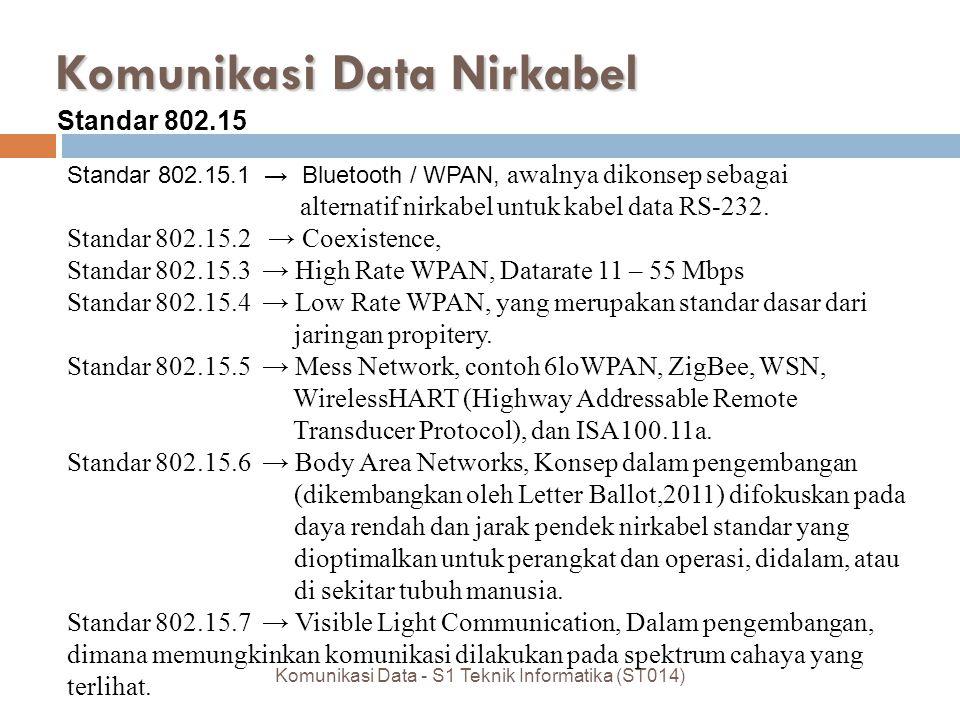 Komunikasi Data Nirkabel Komunikasi Data - S1 Teknik Informatika (ST014) Standar 802.15 Standar 802.15.1 → Bluetooth / WPAN, awalnya dikonsep sebagai alternatif nirkabel untuk kabel data RS-232.