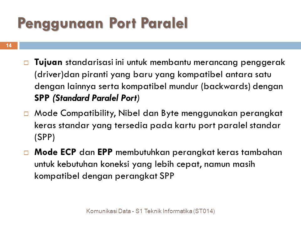 Penggunaan Port Paralel  Tujuan standarisasi ini untuk membantu merancang penggerak (driver)dan piranti yang baru yang kompatibel antara satu dengan