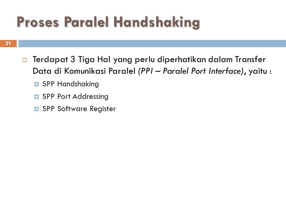 Proses Paralel Handshaking 21  Terdapat 3 Tiga Hal yang perlu diperhatikan dalam Transfer Data di Komunikasi Paralel (PPI – Paralel Port Interface),
