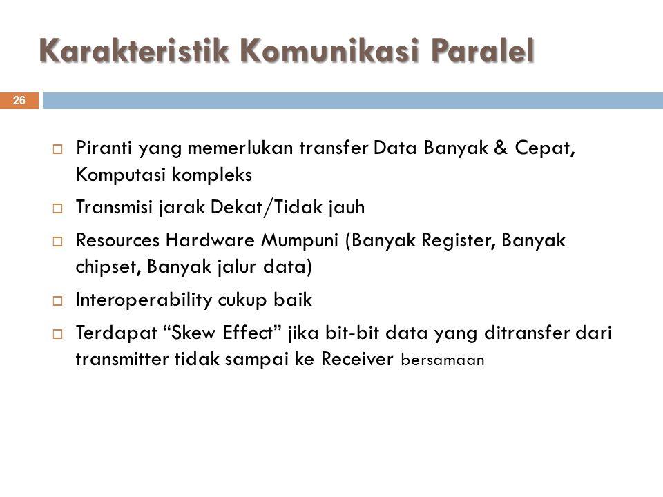 Karakteristik Komunikasi Paralel 26  Piranti yang memerlukan transfer Data Banyak & Cepat, Komputasi kompleks  Transmisi jarak Dekat/Tidak jauh  Re