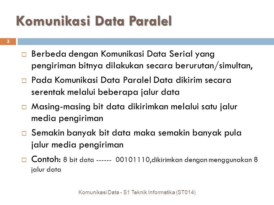 Komunikasi Data Paralel  Berbeda dengan Komunikasi Data Serial yang pengiriman bitnya dilakukan secara berurutan/simultan,  Pada Komunikasi Data Par