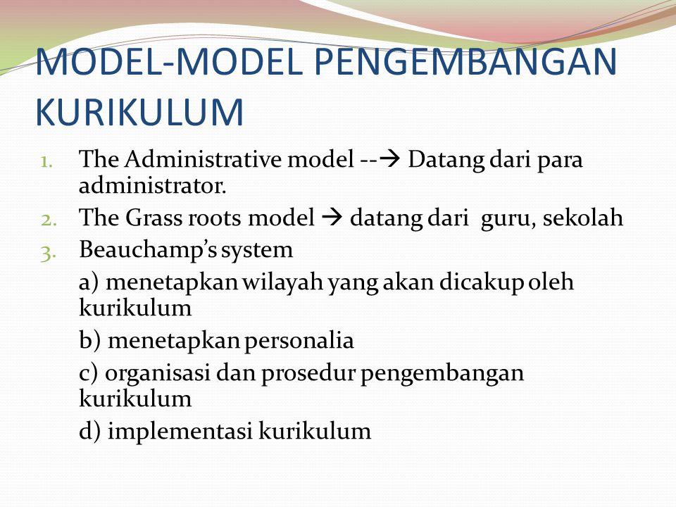 MODEL-MODEL PENGEMBANGAN KURIKULUM 1. The Administrative model --  Datang dari para administrator. 2. The Grass roots model  datang dari guru, sekol