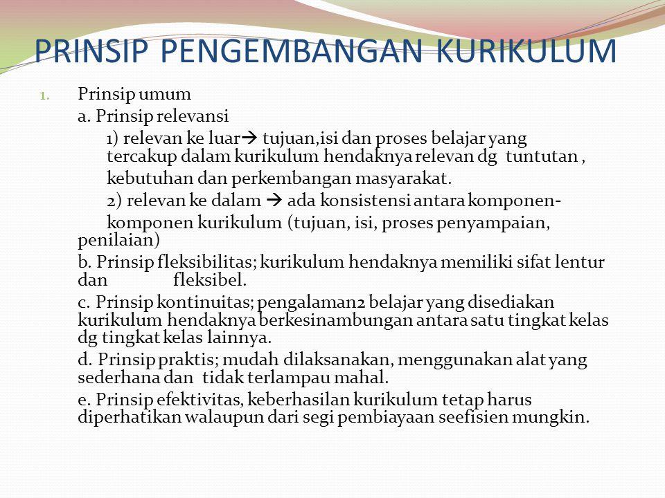 PRINSIP PENGEMBANGAN KURIKULUM 1. Prinsip umum a. Prinsip relevansi 1) relevan ke luar  tujuan,isi dan proses belajar yang tercakup dalam kurikulum h