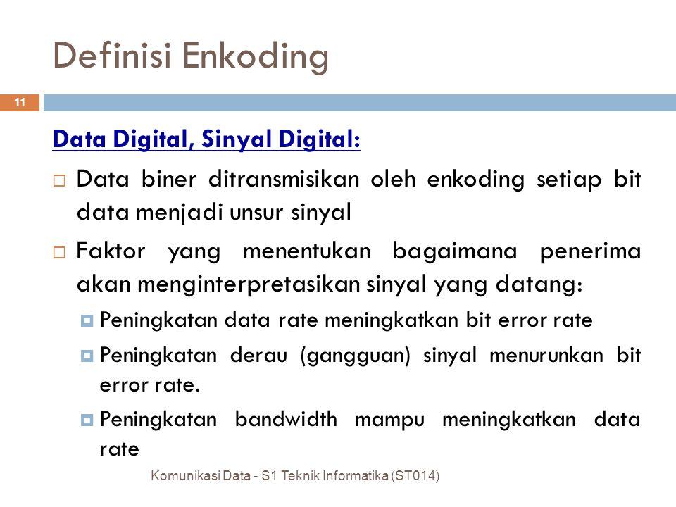 Komunikasi Data - S1 Teknik Informatika (ST014) 11 Definisi Enkoding Data Digital, Sinyal Digital:  Data biner ditransmisikan oleh enkoding setiap bit data menjadi unsur sinyal  Faktor yang menentukan bagaimana penerima akan menginterpretasikan sinyal yang datang:  Peningkatan data rate meningkatkan bit error rate  Peningkatan derau (gangguan) sinyal menurunkan bit error rate.