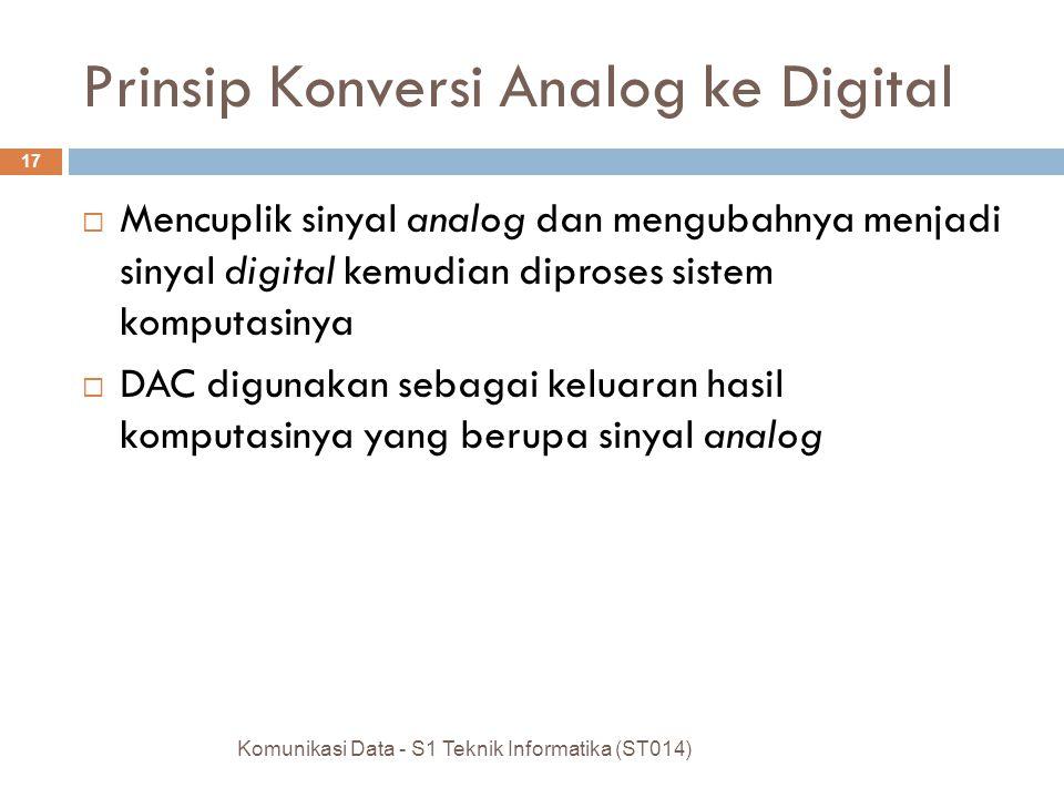 Prinsip Konversi Analog ke Digital  Mencuplik sinyal analog dan mengubahnya menjadi sinyal digital kemudian diproses sistem komputasinya  DAC digunakan sebagai keluaran hasil komputasinya yang berupa sinyal analog Komunikasi Data - S1 Teknik Informatika (ST014) 17