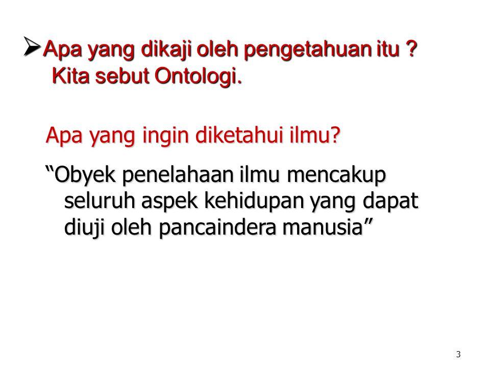 1. Ontologi Bidang filsafat yang meneliti hakikat wujud/ada (on = being/ada; logos = pemikiran/ ilmu/teori).