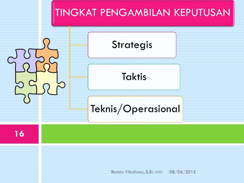 TINGKAT PENGAMBILAN KEPUTUSANStrategisTaktisTeknis/Operasional 08/06/2015Resista Vikaliana, S.Si. MM 16