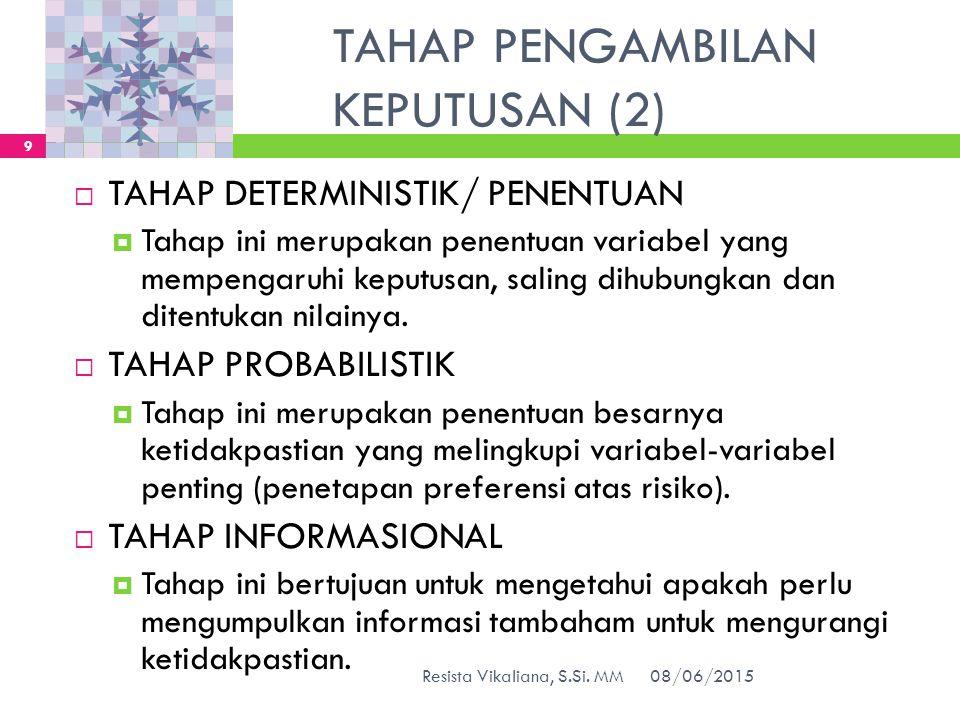 TAHAP PENGAMBILAN KEPUTUSAN (2)  TAHAP DETERMINISTIK/ PENENTUAN  Tahap ini merupakan penentuan variabel yang mempengaruhi keputusan, saling dihubung